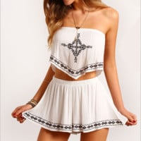 White Vintage Embroidery Strapless Asymmetrical Crop Top with Skater Skirt