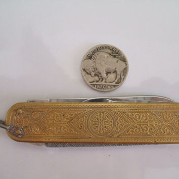 Vintage Ornate Brass Pocket Knife with Three Blades Made in Germany German Knife Solingen Rostfrei Vintage Condition Germany Knife