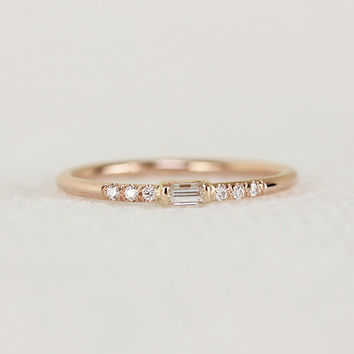 14k Solid Gold Thin Engagement Ring With Baguette Diamond,Simple White Diamond Engagement Ring,Elegant Dainty Stackable Ring