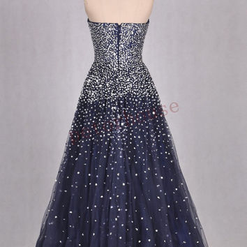 Navy Blue Sequins Long Prom Dresses 2016, Formal Evening Dresses ,Party Dresses, Wedding Party Dresses, Homecoming Dresses ,Evening Gowns