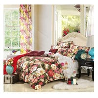 Bed Quilt Duvet Sheet Cover 4PC Set Upscale Cotton 100% 010