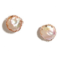 Deep Sea Diva Rose Gold and Pearl Earrings