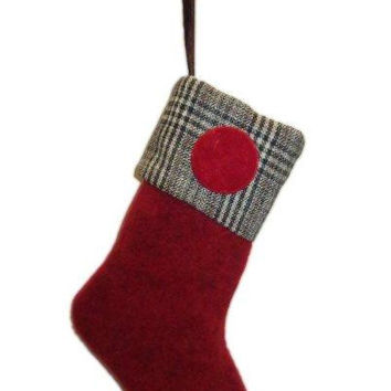 Christmas Stocking Red Felt Body With Grey Glen Plaid Top...Designed By D.Stevens
