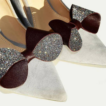 Burgundy bow - shoe clips, sparkly glitter and leather, shoe accessories, wedding shoe