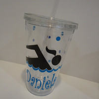 Personalized acrylic tumbler with lid - swimmer or swim team