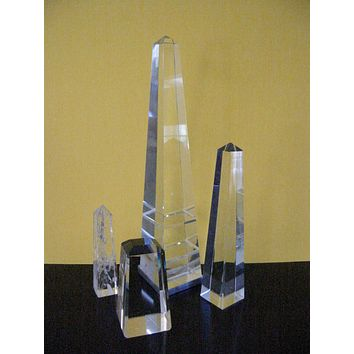 Art Deco Crystal Glass Obelisks In Group of Three