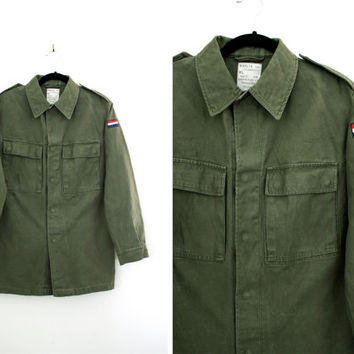 Vintage Dutch Army Green Jacket - Light Parka Coat Military Shirt - Size Medium