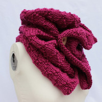 Fuchsia Chunky Cowl, Oversized Knit Cowl, Pink Knit Scarf, Knitted Button Cowl, Bulky Knit Scarf, Pink Chunky Scarf, Hand Knitted Cowl