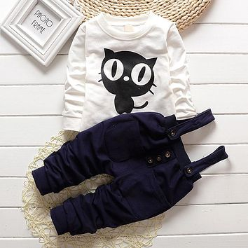 Baby Boy/Girl Clothes 2 PCS Outfits, OWL Print Long T-Shirt Tops + Overalls Pants 3-24 Months