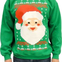 Ugly Christmas Big Santa Claus Face Adult Green 8-Bit Sweatshirt