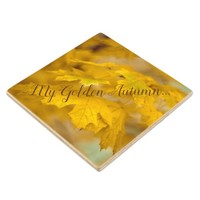 Yellow autumn maple leaves. Add you text or name. Wood Coaster