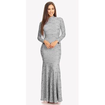 CLEARANCE - Long Sleeve Lace Full Length Dress Silver Mock 2 Piece High Neck (Size Large)