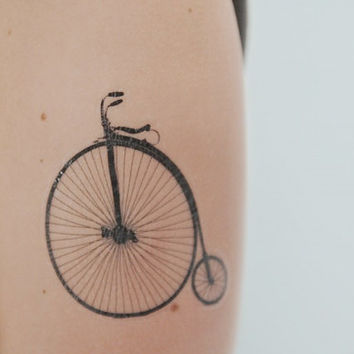 Penny Farthing Temporary Tattoo, Shabby Chic, Large Temporary Tattoo, Bike Temporary Tattoo, Black, Body Art