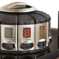 Auto­-Measure Automatic Spice Dispenser Organizer Carousel without Spices, Satin