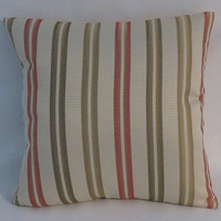 Coral & Green Striped Pillow, Textured Ribbon Stripe, Peach Rust Olive Sage Khaki Oyster Beige, Cover Only or Insert Included Ready to Ship