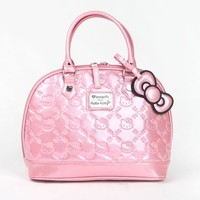 Hello Kitty Embossed Handbag: Pink Glitter