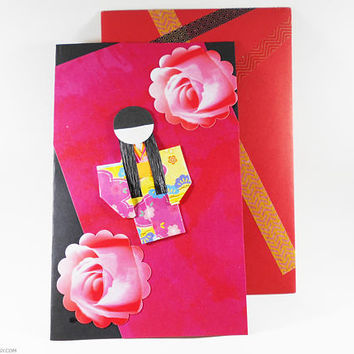 Chiyogami Greeting Card Origami Japanese Paper Handmade Oriental Themed Card Decorative Great for All Occasions All Ages