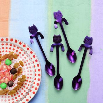 4PCS Cute Cat Spoon Long Handle Spoons Flatware Coffee Drinking Kitchen Tools