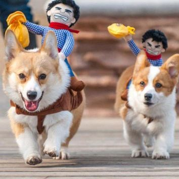 ESB4F Hot Sale Riding Horse Dog Costume Novelty Funny Party Pet Dog Costume Large Dog Clothes Cowboy Monkey Dog Clothing S-XL Q5288
