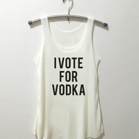 I Vote for Vodka Tank Top Vintage Style