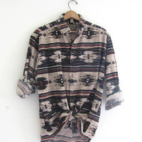 90s southwestern western shirt. oversized tribal button down flannel. men's size L