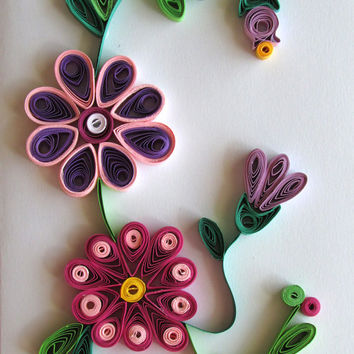 Flowers Card With Quilled Flowers, Quilling Flowers Handmade Quilled Paper Card