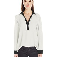 Calvin Klein Women's Long Sleeve Top with Contrasting Cuff