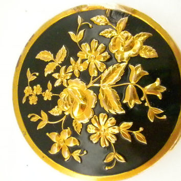 Powder Compact, Black and Gold Compact
