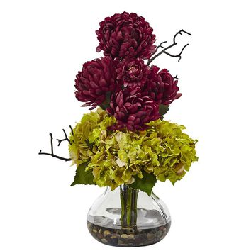 Silk Flowers -Hydrangea And Mum In Vase Artificial Plant