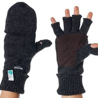 Alki'i Suede Palm 3M Thinsulate Thermal Insulation Fingerless Texting Work Gloves with Mitten Cover - 2 colors:Amazon:Clothing