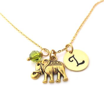 Gold Elephant Necklace - Gold Initial Necklace - Birthstone Necklace - Gold Initial Disc Necklace - Personalized Necklace - Gift for Her