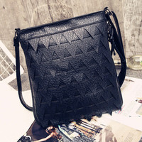 Black Triangle Embellished PU Shoulder Bag