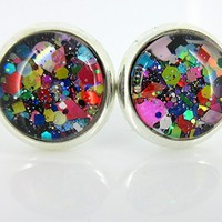 Silver-tone Black and Multi-Color Confetti Glitter Glass Stud Earrings Hand-painted 10mm