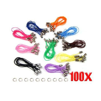 5x New 100 Assorted Coloured Mobile Phone Strap String with 7mm Jump Rings
