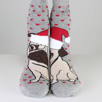 Bulldog Socks Gray Socks Red Hearth Socks Heart Socks Love Socks Women Girl Socks Women Socks Funny Socks Ankle Socks Animal Socks Fun Socks
