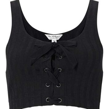 Black Eyelet Lace Up Crop Top - View All - Apparel