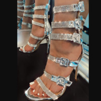 Hot style hot selling rhinestone transparent material high heel sandals