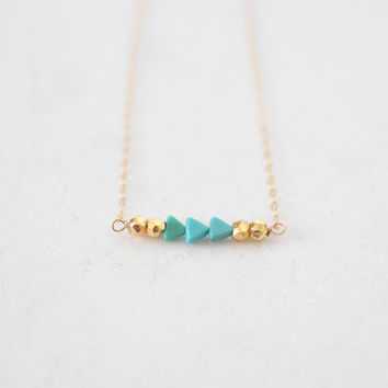 Turquoise Triangle and Gold Pyrite Necklace