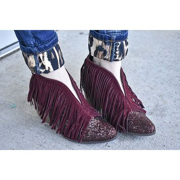 Wine glitter Carrie booties