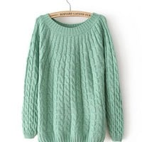 Green Round Neck Long Sleeve Flowers Needle Sweater