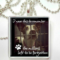 Remembrance of the millions of animals that die yearly in the shelters Glass Pendant