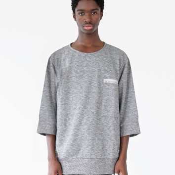 Quarter Sleeve Off-Center Pocket Pullover Sweatshirt Tee in Heather Gray