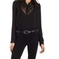 Black Embroidered Chiffon Button-Up Top by Charlotte Russe