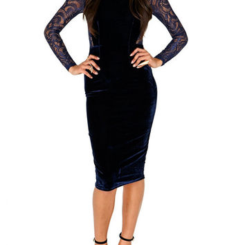 Long Sleeve Lace Insert Bodycon Midi Dress