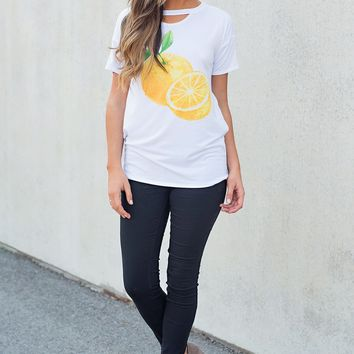 When Life Hands You Lemons Graphic T-Shirt (White)