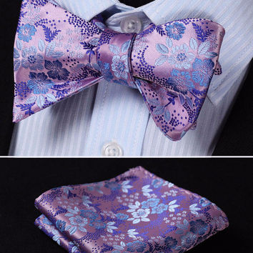 Pink and Purple Floral Silk Bowtie with Pocketsquare Self Tie