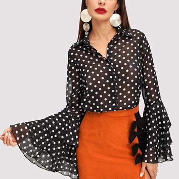 Jbellan Tiered Bell Sleeve Dot Print Blouse