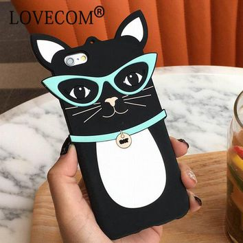 VONE7HQ OPAL FERRIE - Cartoon Sunglassess Black Cat Soft Silicon Phone Case For iPhone