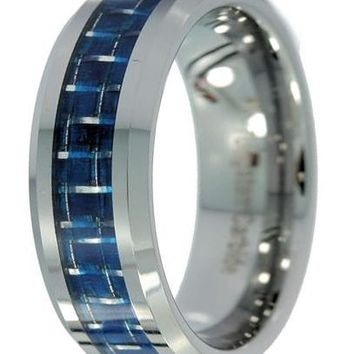 CERTIFIED 8mm Polished Tungsten Carbide Blue or White Carbon Fiber Inlay Ring