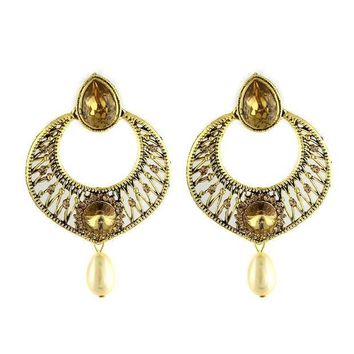 CREYV2S VVS Jewellers Gold Tone Dazzling Traditional Indian Bollywood Style Ethnic Women Polki Kundan Earrings